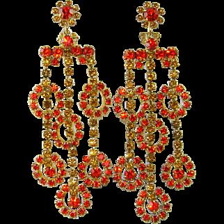 Vintage Juliana Earrings Shoulder Dusters Orange Topaz Rhinestone Figure 8's Rare