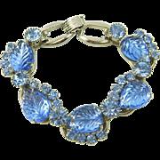 Vintage Juliana Blue Molded Glass Leaf 5 Link Bracelet Book Piece