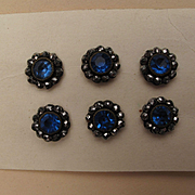 6 Antique Cut Metal Buttons with Blue Glass Centers