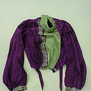 Antique Bodice Made from Unusual Lavender and White Polka Dot Tissue Silk for Doll Dressing