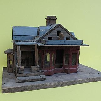 Unusual VERY Primitive Old OOAK Folk Art Wooden Bird House Sculpture