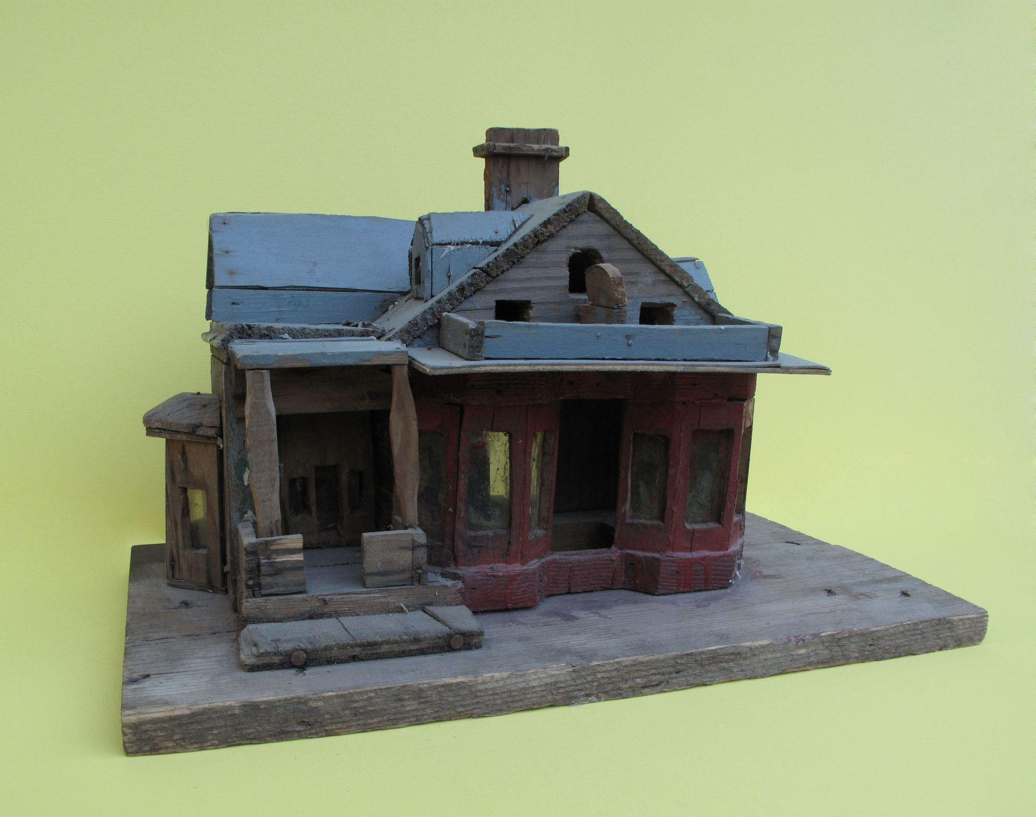 Unusual VERY Primitive Old OOAK Folk Art Wooden Bird House Sculpture