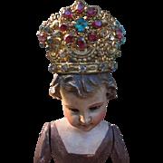 19th Century Miniature Paste Stone Crown for Santos or Creche Statue - Rare Fuchsia, Pink and Aqua Stones.