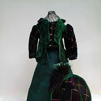 Very Unusual Edwardian Plaid Velvet and Silk  Ensemble