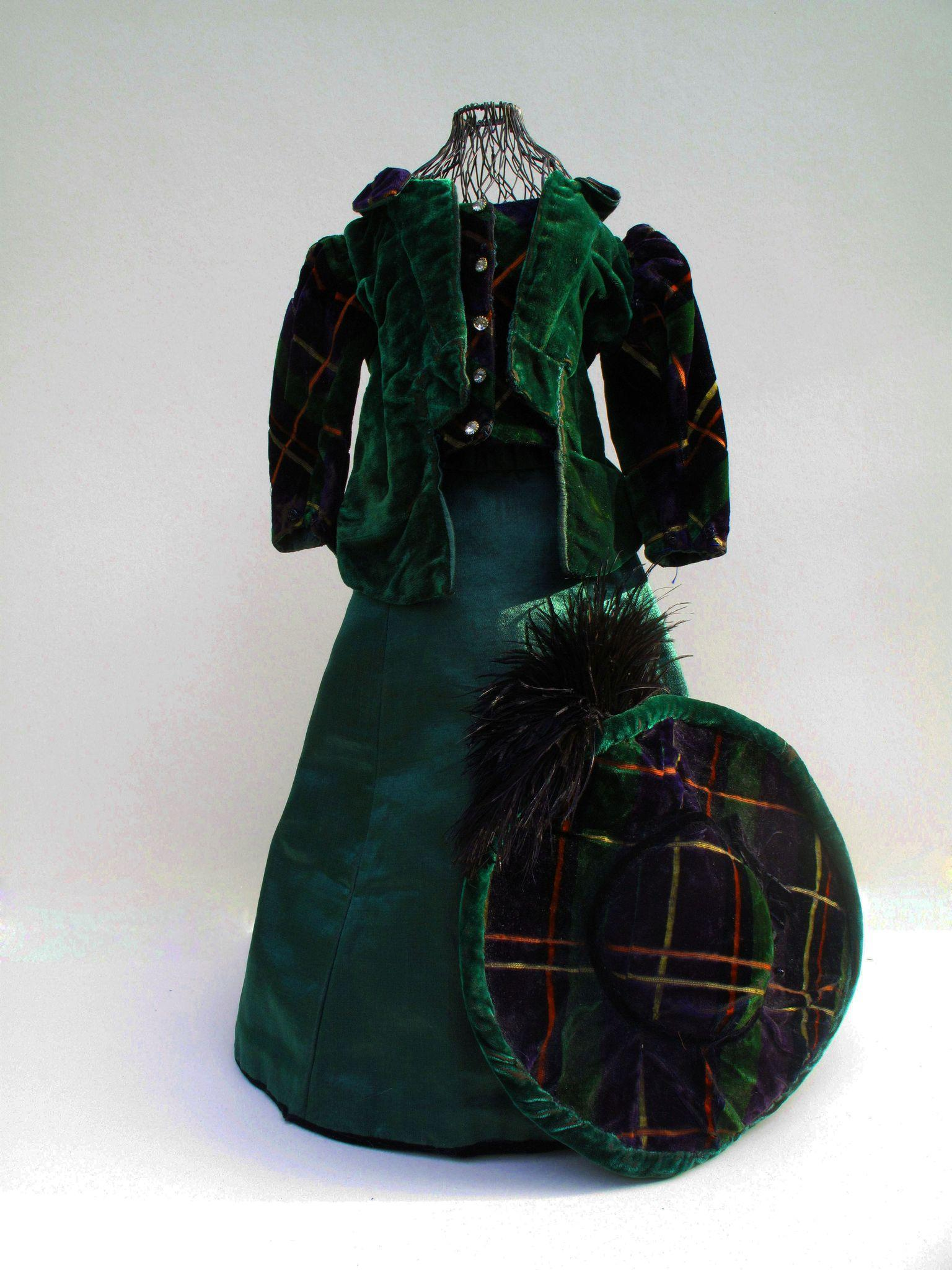 Very Unusual Edwardian Plaid Velvet and Silk  Ensemble