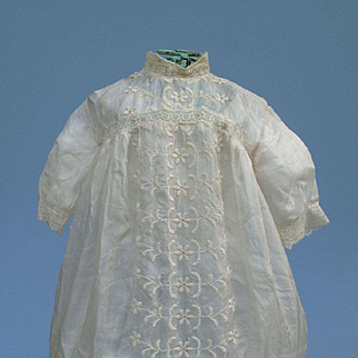 Pretty Antique Embroidered Tissue Silk Frock with Matching Slip for Large Child Doll