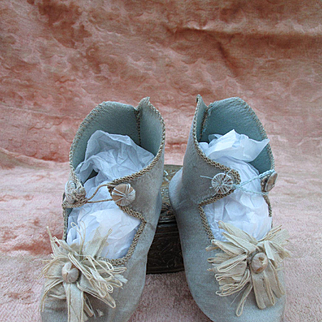 Gorgeous Blue Silk Bebe Shoes.