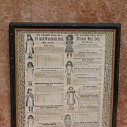 Wonderful Framed Page from 1900's Antique Doll Catalogue