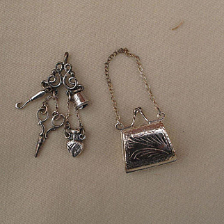 Lovely Tiny Sterling Chatelaine and Purse for Antique Doll