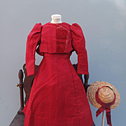Elegant Antique Red Wool Challis Dress for Antique Doll