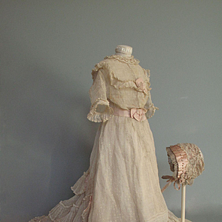 1870's  Gown for Large Antique French or German Fashion Lady Doll