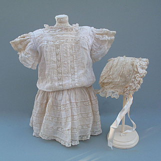 Lovely Classic Antique Lace Dress and Matching Bonnet