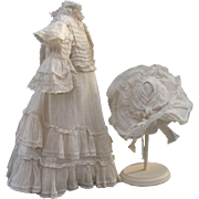 Gorgeous Early Dress and Hat for French or German Bebe