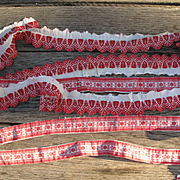 Rare and Early Red and White Embroidered Trim