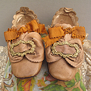 Truly Show Stopping Antique Slipper Shoes for Larger Doll