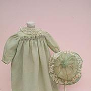 Precious Antique Mint Green Wool Challis Dress and Matching Silk Mob Cap