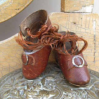 Lovely Leather Antique Shoes Size 2 for Small Cabinet Size Doll