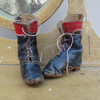 Very Wonderful and Unusual 1840 - 1860 Two Tone Leather Boots