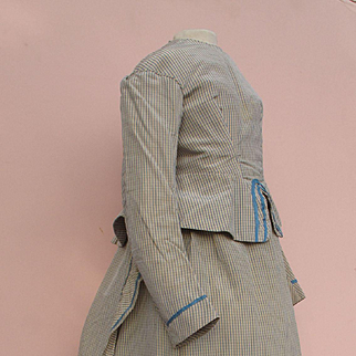 Rare 1870's Small Girl's Silk Bustle Dress with Wire Bustle and 'Pork Pie'  Straw Cap