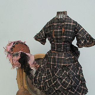 1860 Five Piece Ensemble For French Fashion Doll with Crinoline