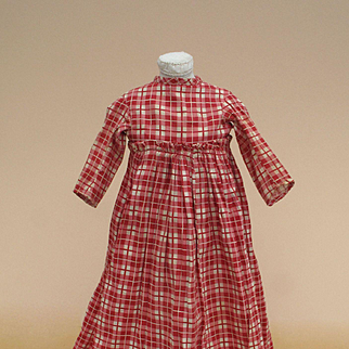 Precious Early Red Check Dress for Cloth, China or Paper Mache Antique Doll