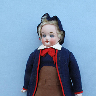 "Sweet Antique All Original 9 1/2"" Swiss Laborer Shoulder Head Doll"