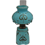 Miniature Oil Lamp - Robin's Egg Blue Satin Finish