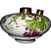 Floral Painted Milk Glass Oil Lamp Font