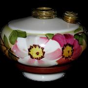Large Floral Painted Oil Lamp Font