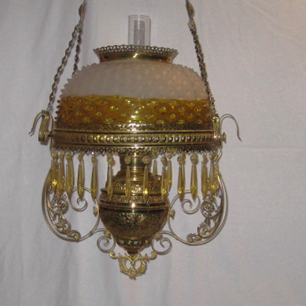 Victorian Hanging Parlor Oil Lamp - Frances Ware Hob Nail ...