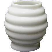 Miniature Oil Lamp Shade - White Milk Glass Beehive