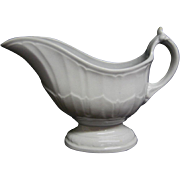 White Ironstone Paneled Columbia Gravy Boat