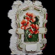 Large Die Cut 1909 Fold Out Floral Calendar