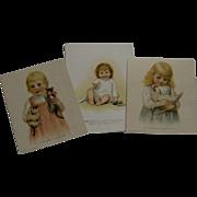 Three Charming Toddler Girls Christmas Cards - Prang
