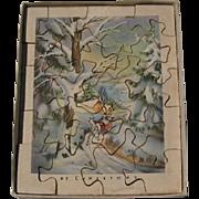 World War II Era Christmas Card Unusual Puzzle Gram