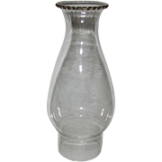 Petite ZERO Oil Lamp Chimney with Optic Ribbing on Beaded Top