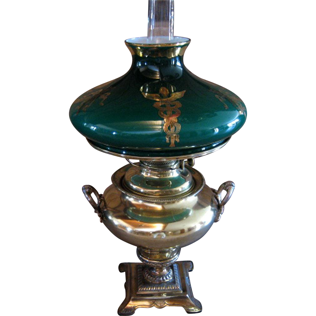 Large Bradley Amp Hubbard Oil Lamp With Medical Symbol On