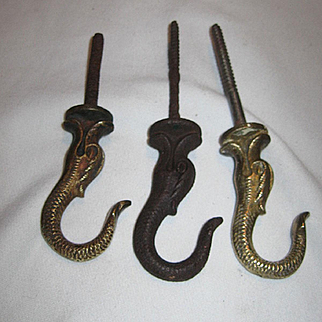 Three Antique Dolphin Ceiling Hooks for Hanging Oil Lamps