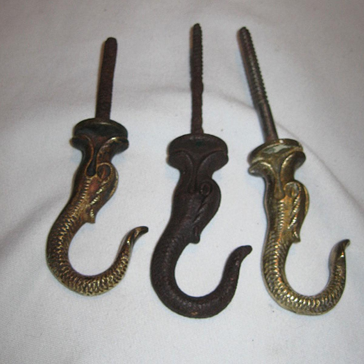 three antique dolphin ceiling hooks for hanging oil lamps. Black Bedroom Furniture Sets. Home Design Ideas
