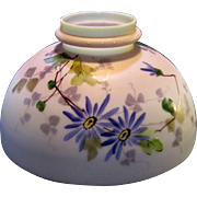 Blue Painted Daisy or Aster Victorian Oil Lamp Shade