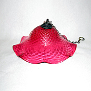 Antique Cranberry Diamond Quilt Smoke Bell for Hanging Lamp