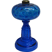 Peacock Blue Inverted Thumbprint and Prism Oil Lamp