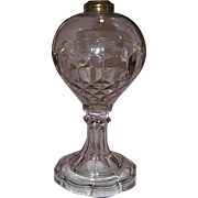 Early Oil Lamp With Pattern Under Glass