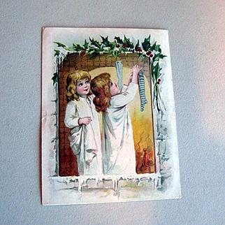Girls Hang Stockings Christmas Trade Card