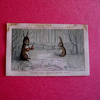 1882 Prang Comic Christmas Card With Rabbits