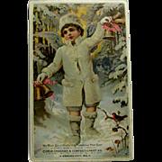 Snow Angel Boy Large Christmas New Year Trade Card
