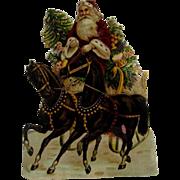 Large Santa With Sleigh Die Cut Scrap