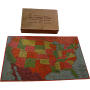 Wooden Puzzle Map of the United States c1940s