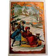 Lion Coffee Christmas Trade Card - Sisters Sleigh