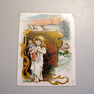 Girl With Dolls Victorian Christmas Trade Card - Lion Coffee